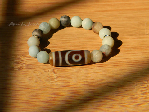 two eyes dzi beaded bracelet