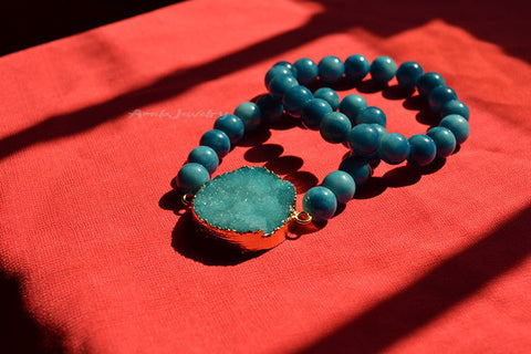 blue drusy beaded bracelet