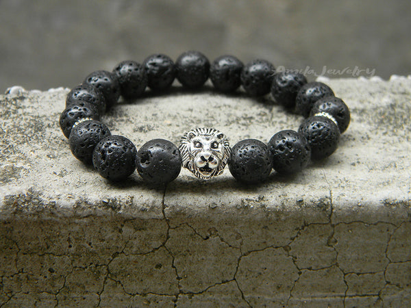 mens beaded lion bracelet