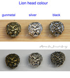 silver black gunmetal lion head beads bracelet