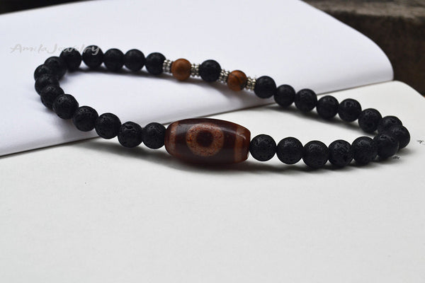 dzi agate choker necklace