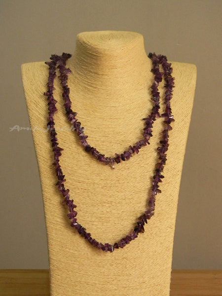 amethyst chips long necklace