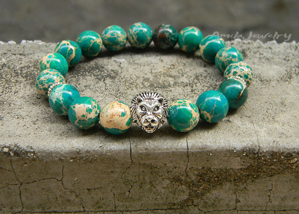 men's lion beaded bracelet