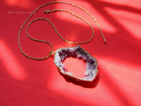 raw purple druzy pendant necklace