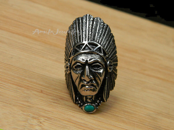 native American titanium steel ring