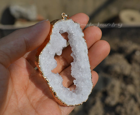 raw white druzy hole pendant necklace