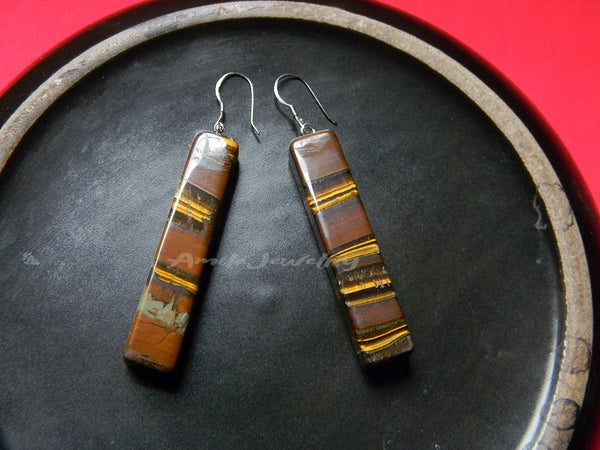 natural tiger eye bar earrings