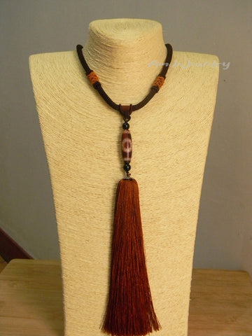 Tibetan dzi bead tassel necklace