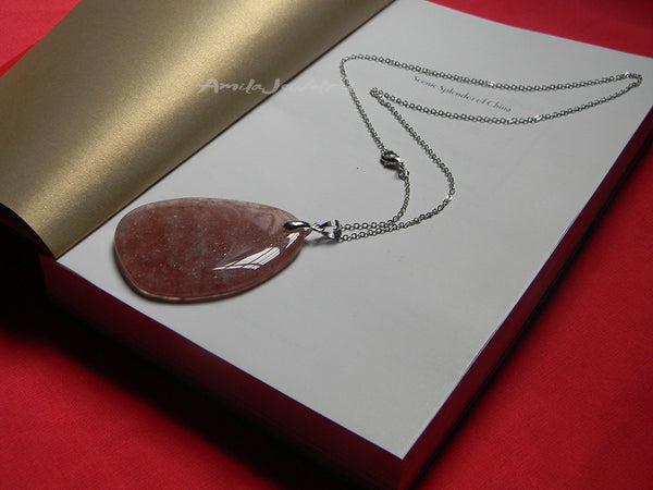natural strawberry quartz slice pendant