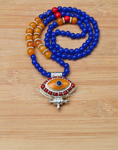 big evil eye prayer box pendant necklace