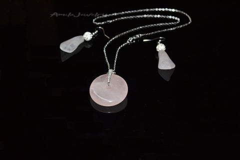 Rose quartz jewelry set