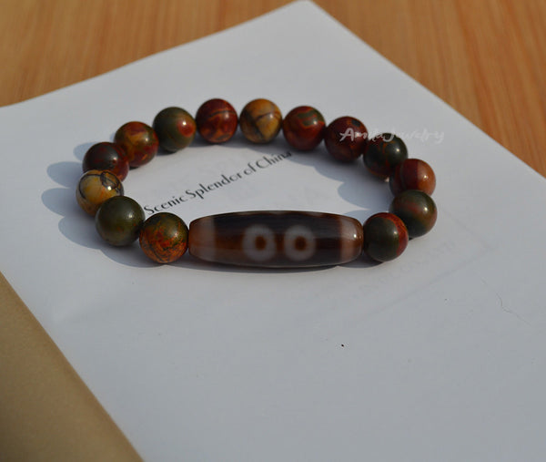 three eyes dzi mala bead bracelet