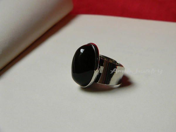 black agate adjustable ring