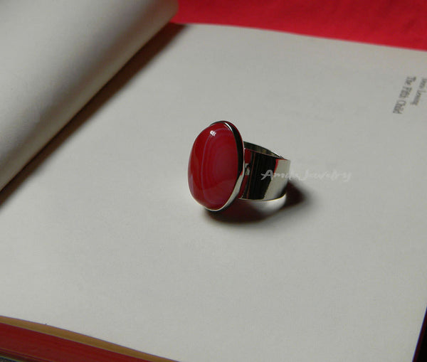 red agate adjustable ring