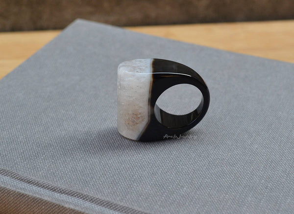 natural black white agate druzy ring