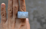 big rectangle white druzy ring