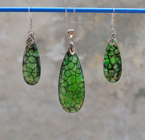 green veins agate waterdrop earrings