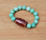 womens big green marble beaded bracelet