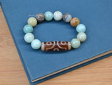 Chinese eye prayer Dzi agate beaded bracelet
