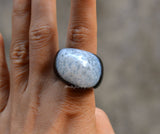 black white agate ring