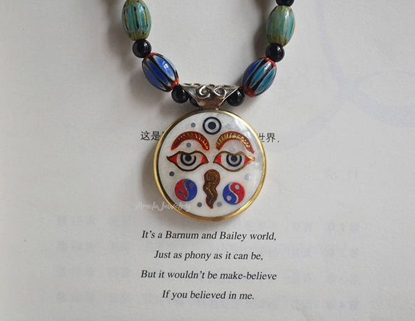 buddha eyes Tibetan necklace