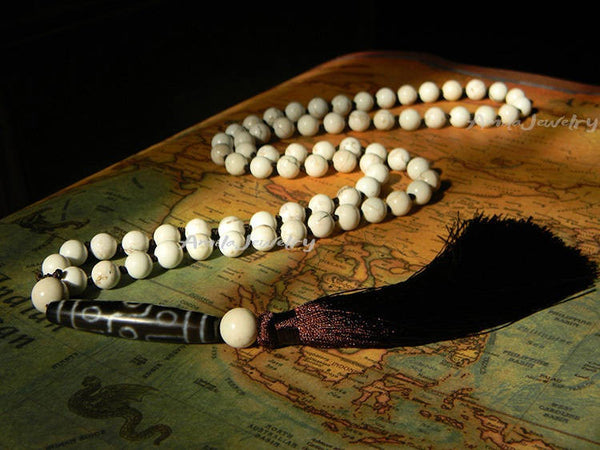 Tibetan 9 eyes dzi bead tassel necklace
