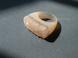 grey solid agate ring