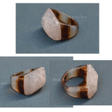 white brown quartz ring