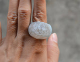 big oval drusy quartz ring