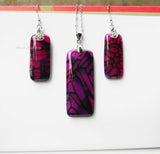 fuchsia agate earrings set of 3