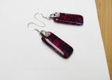 fuchsia agate dangle bar earrings