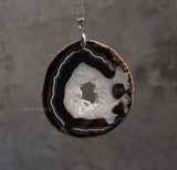 natural big hole geode slice pendant