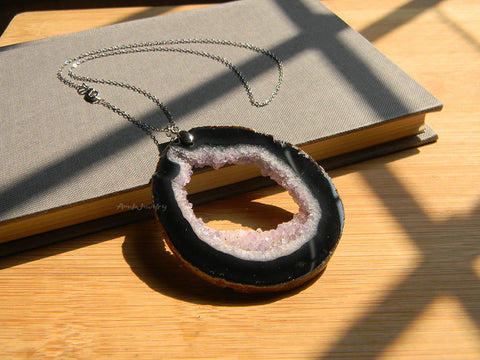 raw black purple druzy pendant necklace