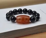 black onyx big beads mens bracelet