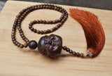 108 wooden prayer beads mala long necklace