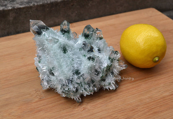 raw green quartz cluster specimen