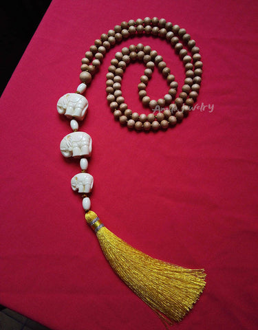 108 wood beads mala long tassel necklace