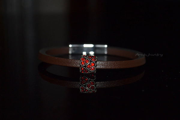 real leather heart bracelet
