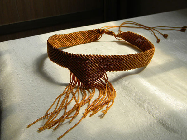 yellow macrame choker