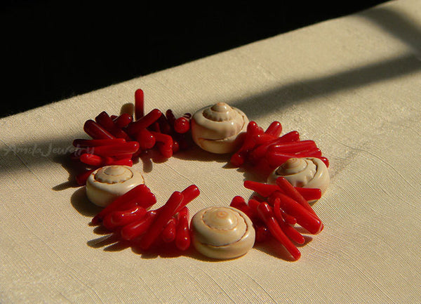 red coral branch shells bracelet
