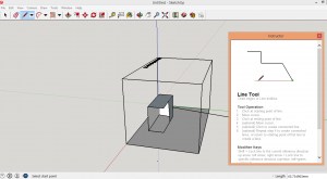 SketchUp interface capture, 3D modelling software