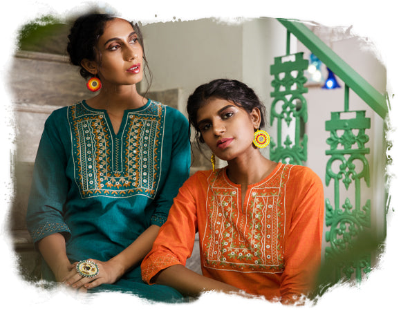 Hand Embroidered Cotton Kurtis for Women Online