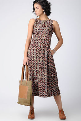 Dharan 'Tile Design Dress' Brown Block Printed Dress