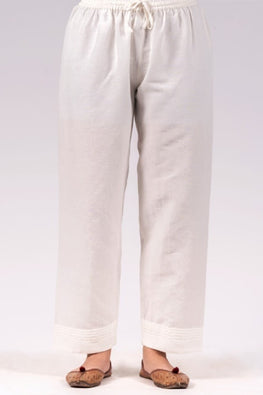 Dharan 'Linen Straight Pants' White Straight Pants
