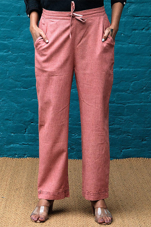 Dharan 'Coral Straight Pants' Handloom Textured Pants