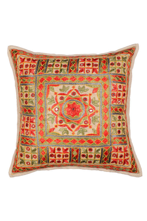 Lal10 Hand Embroidered 100% Cotton Cushion Cover