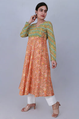 Dharan 'Kali Kurta' Green and orange Block Printed Kurta