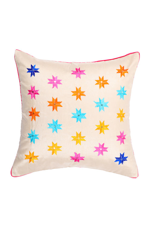 Lal10 Handcrafted Art-Silk Phulkari Embroidered Cushion Cover