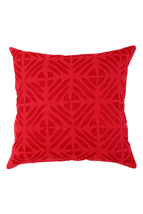 Lal10 Handcrafted Red Applique Work Pure Cotton Cushion Cover Online