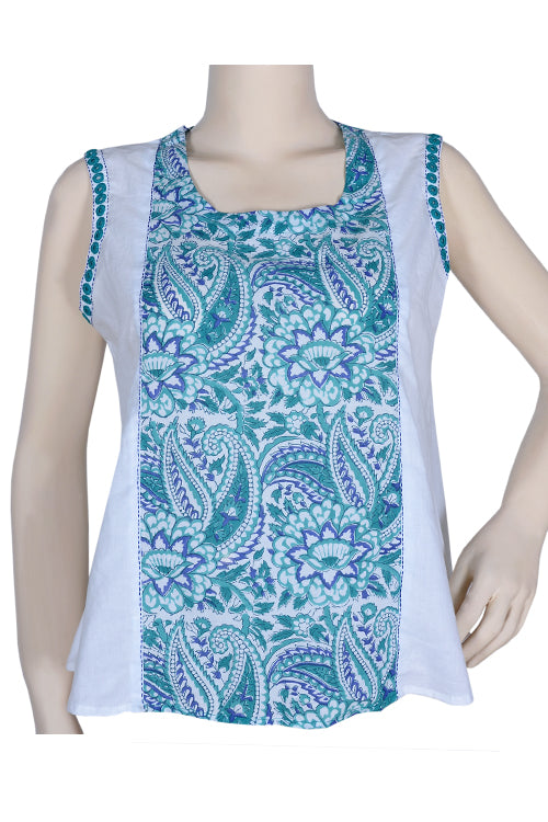 "Okhai ""Blue Flowers"" Mirror Work Top"